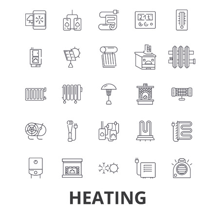 Heating, hot, heart, radiator, heater, heating system, fire, wave, warm, sun line icons.