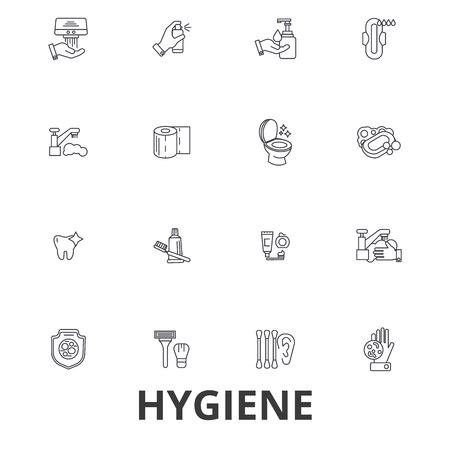 Hygiene, cleaning, washing hand, personal hygiene, soap, sanitation, cleaner line icons. Ilustração
