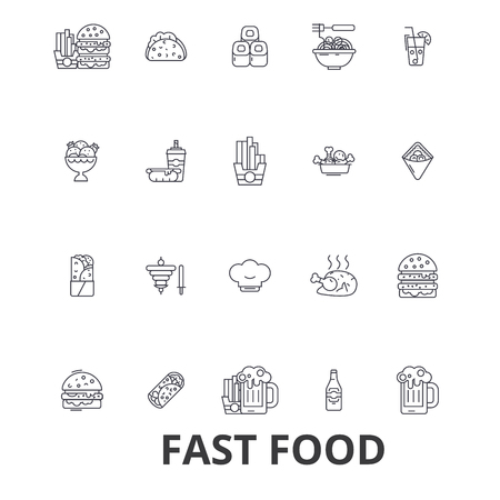 Fast food, restaurant, pizza, hamburger, burger, junk, hot dog, french fries line icons. Ilustração
