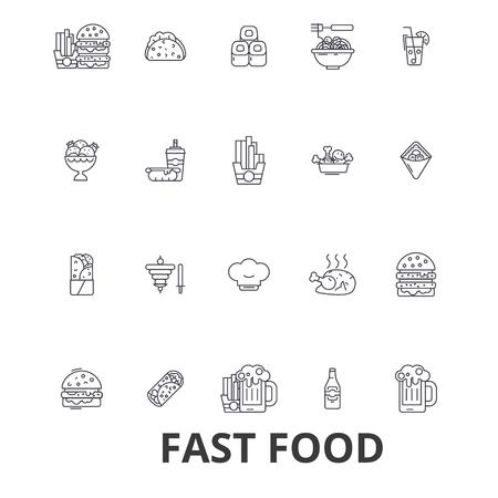 hot dog: Fast food, restaurant, pizza, hamburger, burger, junk, hot dog, french fries line icons. Illustration