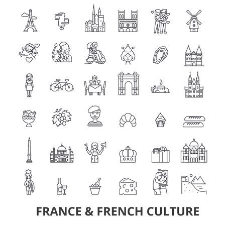 France, tour eiffel, drapeau français, france, europe, paris, parisien, icônes de la ligne triomphale. Traits modifiables. Concept de symbole de design plat vector illustration. Signes linéaires isolés sur fond blanc Banque d'images - 85758091