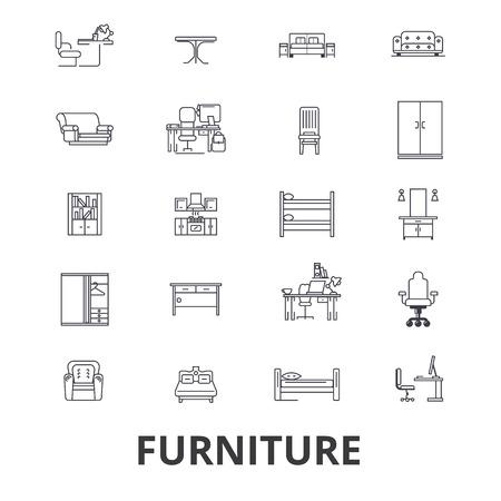 Furniture, furniture design, interior, chair, office furniture, living room line icons. Illustration