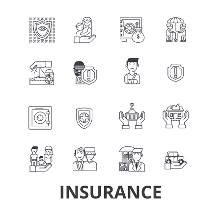 Health insurance, insurance agent, life insurance, protection, safety line icons. 向量圖像