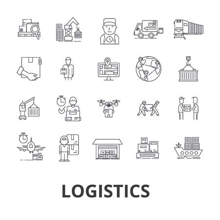 Logística, transporte, armazém, cadeia de suprimentos, caminhão, distribuição, ícones de linhas de transporte.