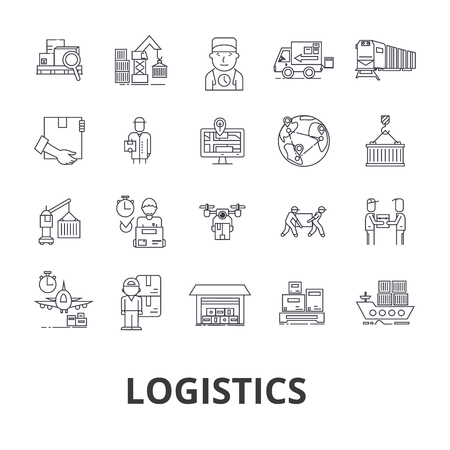 Logistics, transportation, warehouse, supply chain, truck, distribution, ship line icons.