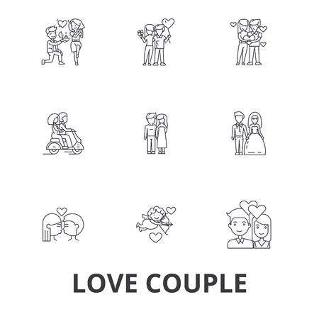 Love couple, romantic, love heart, kissing, love birds, happy couple, valentine line icons. Editable strokes. Flat design vector illustration symbol concept. Linear signs isolated on white background