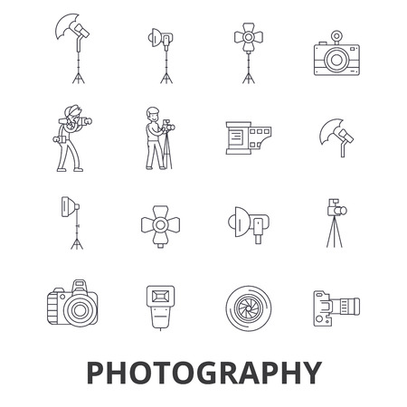 Photography, photographer, camera, photo studio, frame, camera lens, polaroid line icons. Editable strokes. Flat design vector illustration symbol concept. Linear signs isolated on white background