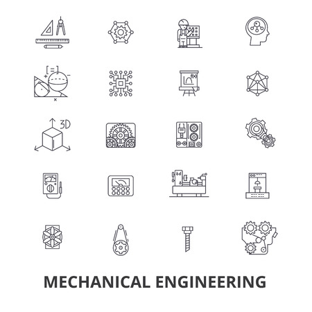 Mechanical engineering, mechanic, electrical, gears, electronic, car mechanic line icons. Editable strokes. Flat design vector illustration symbol concept. Linear signs isolated on white background Ilustração