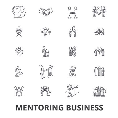 Mentoring business, mentor, coaching, business guidance, train, help, teamwork line icons. Editable strokes. Flat design vector illustration symbol concept. Linear signs isolated on white background Illustration