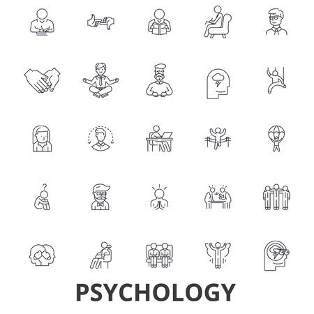 Psicología, psicólogo, consejería, prueba, terapia, cerebro, sociología, iconos de línea mental. Trazos editables. Diseño plano símbolo de ilustración vectorial concepto. Signos lineales aislados sobre fondo blanco