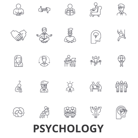 Psychology, psychologist, counseling, test, therapy, brain, sociology, mind line icons. Editable strokes. Flat design vector illustration symbol concept. Linear signs isolated on white background