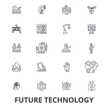 Future technology, future vision, futuristic, business, robot, cyborg, control line icons. Ilustrace