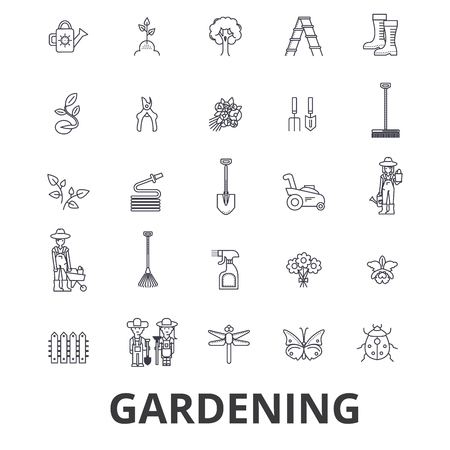 Gardening, flower, garden tools, vegetable, grass, landscape, plant, park, tree line icons. Ilustração