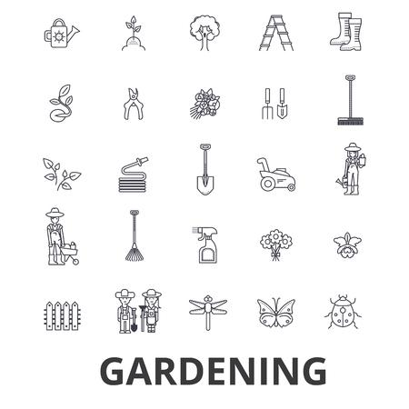 Gardening, flower, garden tools, vegetable, grass, landscape, plant, park, tree line icons. Illustration