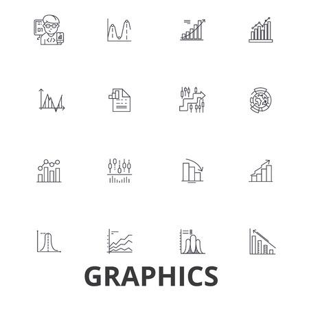 Graphics, graph, infographic, design, chart, graphic element, illustration, line icons. Illustration