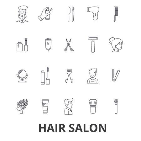 Hair salon, hair style, hairdresser, model, beauty salon, hair stylist, hair cut line icons.