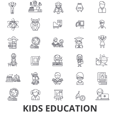 Kids education, learning, education, school, education technology line icons.