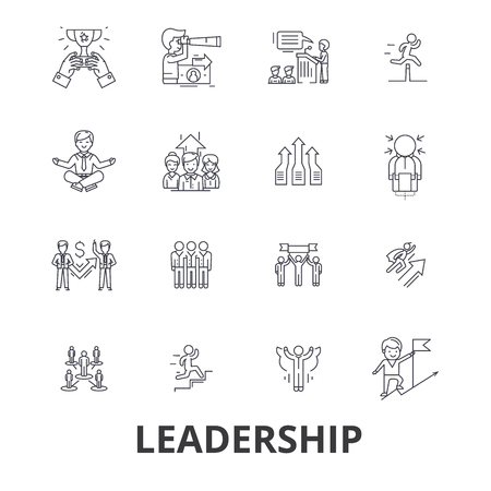 Leadership, leader, management, teamwork, lead, development, success, innovation line icons.