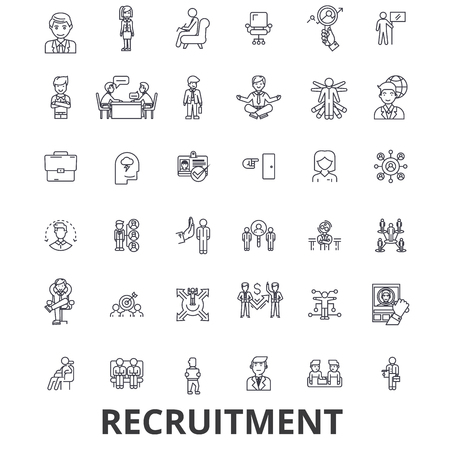 Recruitment, hiring, human resources, career, interview, employment, staffing line icons.