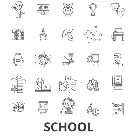 mathematics: School, school building, education, classroom, pupil, school bus, school teacher line icons. Illustration
