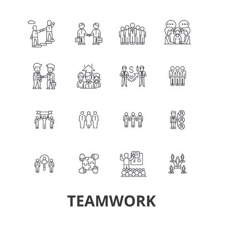 Teamwork, team, concept, working together, collaboration, success, partnership line icons. Illustration