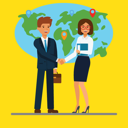 Businessman and businesswoman shaking hands in front of the map.