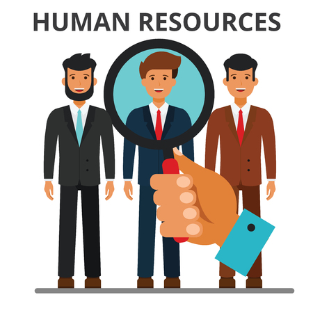 Human resources concept. Recruitment, business career, person search. Hiring. job, staffing. Flat vector illustration isolated on white background.