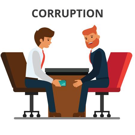 Businessman giving bribe money. Corruption, bribery. venality, kickback. Corrupted bureaucracy. Flat vector illustration isolated on white background.