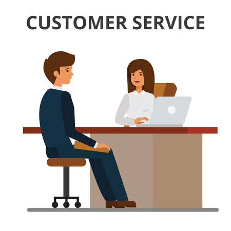 Customer service, bank office, client getting credit, financial agreement. Businesswoman discussing with businessman sitting at the table. Flat vector illustration isolated on white background.