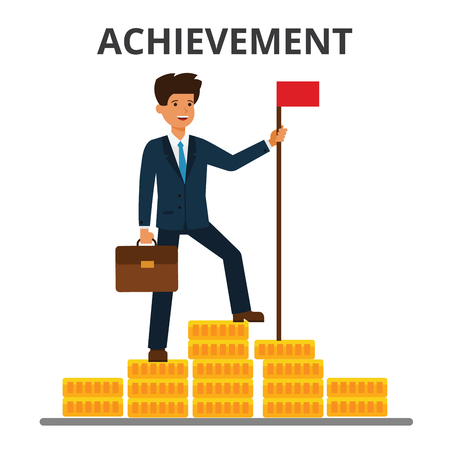 Businessman achieved flag on the top of money mountain 版權商用圖片 - 85891129
