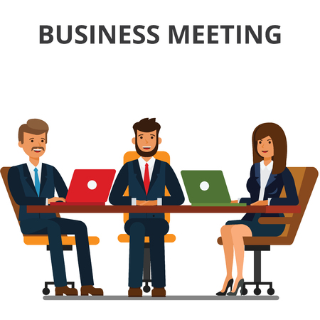 Business meeting. Businessmen and businesswoman sit at the table. Team work together, discussion, interviews, negotiations. Flat vector illustration isolated on white background. Banco de Imagens - 85891131