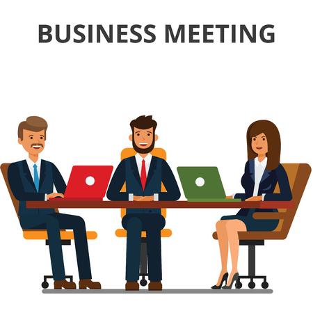 Zakelijke bijeenkomst. Ondernemers en zakenvrouw zitten aan de tafel. Team werken samen, discussie, interviews, onderhandelingen. Platte vectorillustratie geïsoleerd op een witte achtergrond.