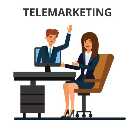 woman laptop: Telemarketing, online sales, business conference, video calling. Internet communication technology. Businessman and businesswoman chatting in web. Flat vector illustration isolated on white background.