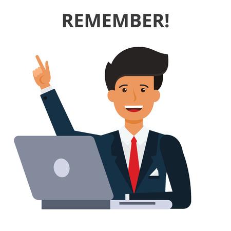 개념을 기억하십시오. 비즈니스 일정, 아이디어 생성 시간 관리. 노트북에서 사업가입니다. 플랫 벡터 일러스트 레이 션 흰색 배경에 고립.