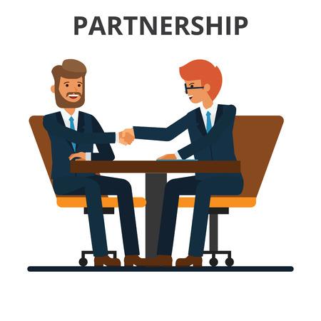 ビジネスパートナーシップ。ビジネスマンの握手。Negogiation テーブル。男性は、署名された契約で手を振る。白の背景に分離されたフラットベクタ