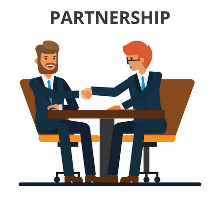 Business partnership. Businessmen handshake. Negogiation table. Men shaking hands on a signed contract. Flat vector illustration isolated on white background.