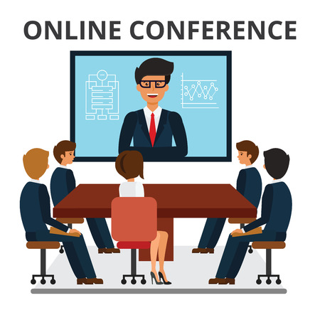 woman laptop: Business people meeting. Web conference in office. Corporate people looking at video presentation screen. Discussion, brainstorming. Flat vector illustration isolated on white background.