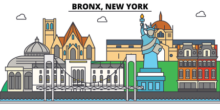 Bronx, New York. City skyline, architecture, buildings, streets, silhouette, landscape, panorama, landmarks. Editable strokes. Flat design line illustration concept. Isolated icons