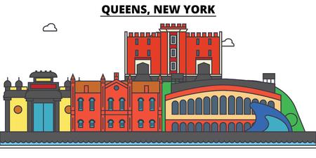 퀸즈, 뉴욕. 도시 스카이 라인, 아키텍처, 건물, 거리, 실루엣, 프리, 파노라마, 랜드 마크. 편집 가능한 스트로크. 평면 디자인 라인 그림 개념입니다.