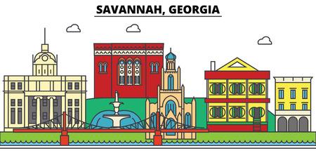 サバンナ、ジョージア都市のスカイライン、建築、建物、通り、シルエット、風景、パノラマ、ランドマーク。編集可能なストローク。フラットデ  イラスト・ベクター素材