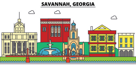 사바나, 조지아. 도시 스카이 라인, 아키텍처, 건물, 거리, 실루엣, 프리, 파노라마, 랜드 마크. 편집 가능한 스트로크. 평면 디자인 라인 그림 개념입니