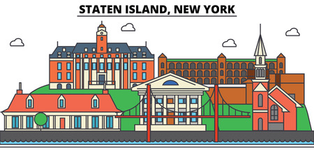 스 태튼 아일랜드, 뉴욕. 도시 스카이 라인, 아키텍처, 건물, 거리, 실루엣, 프리, 파노라마, 랜드 마크. 편집 가능한 스트로크. 평면 디자인 라인 그림