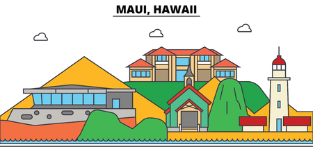 Maui, Hawaii. City skyline, architecture, buildings, streets, silhouette, landscape, panorama, landmarks. Editable strokes. Flat design line illustration concept. Isolated icons