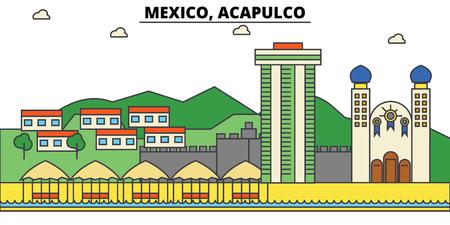 멕시코, Acapulco. 도시 스카이 라인, 아키텍처, 건물, 거리, 실루엣, 프리, 파노라마, 랜드 마크. 편집 가능한 스트로크. 평면 디자인 라인 그림 개념입니