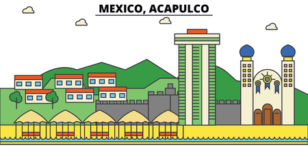 Mexico, Acapulco. City skyline, architecture, buildings, streets, silhouette, landscape, panorama, landmarks. Editable strokes. Flat design line illustration concept. Isolated icons