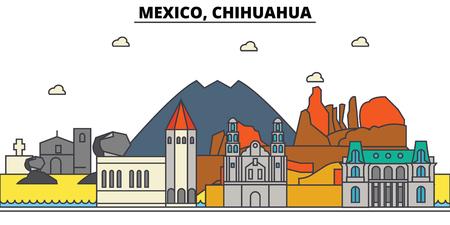멕시코, 치와와. 도시 스카이 라인, 아키텍처, 건물, 거리, 실루엣, 프리, 파노라마, 랜드 마크. 편집 가능한 스트로크. 평면 디자인 라인 그림 개념입니