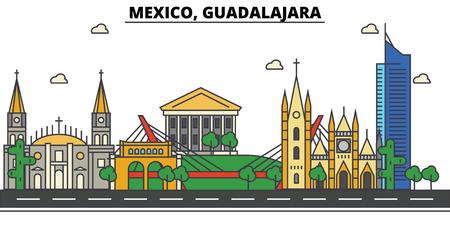 メキシコ、グアダラハラ。都市のスカイライン、建築、建物、通り、シルエット、風景、パノラマ、ランドマーク。編集可能なストローク。フラッ