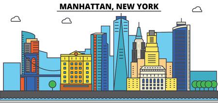 맨해튼, 뉴욕. 도시 스카이 라인, 아키텍처, 건물, 거리, 실루엣, 프리, 파노라마, 랜드 마크. 편집 가능한 스트로크. 평면 디자인 라인 그림 개념입니다. 일러스트