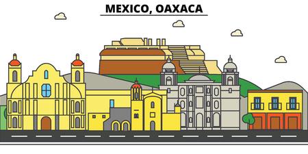 メキシコ、オアハカ。街のスカイライン、アーキテクチャ、建物、通り、シルエット、風景、パノラマ、ランドマーク。編集可能なストローク。フ