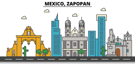 Mexico, Zapopan. City skyline, architecture, buildings, streets, silhouette, landscape, panorama, landmarks. Editable strokes. Flat design line illustration concept. Isolated icons